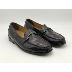Cole Haan Mens Burgundy Leather Moc Toe loafers